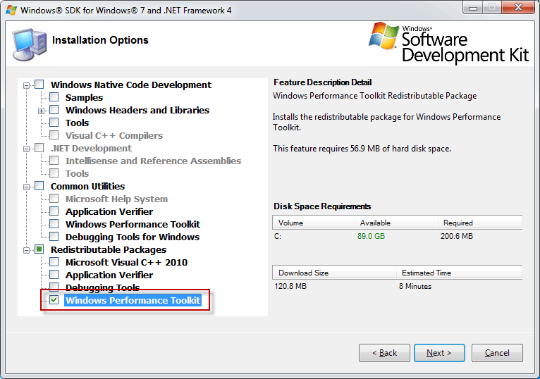 Windows 7 SDK Options for WPT