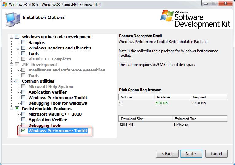 Windows 7 SDK Options for WPT