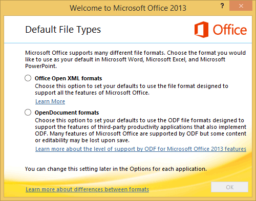 Office Default File Types